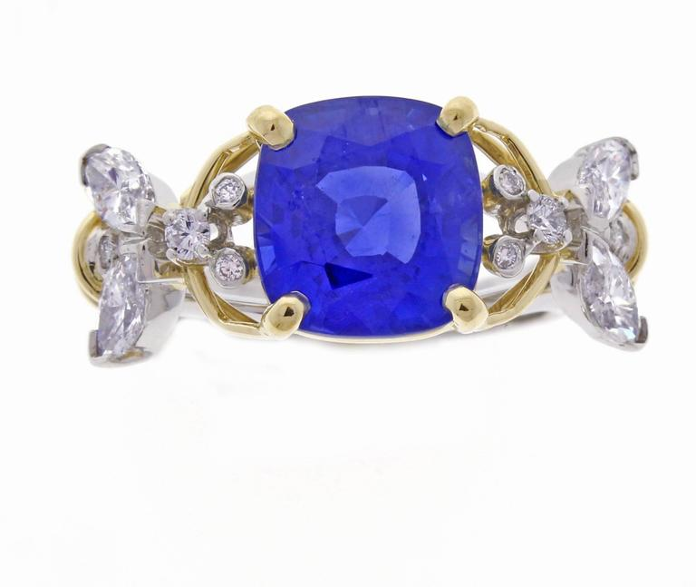 b40254890fa21 Tiffany & Co. Schlumberger Burma Unheated Sapphire Diamond Gold Two Bees  Ring