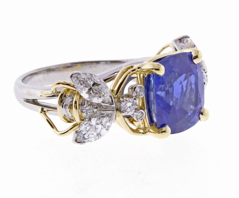 0d5e41224 Tiffany & Co. Schlumberger Burma Unheated Sapphire Diamond Gold Two Bees  Ring In Excellent Condition
