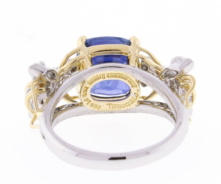 4dd543b65 Tiffany & Co. Schlumberger Burma Unheated Sapphire Diamond Gold Two Bees  Ring For Sale 1