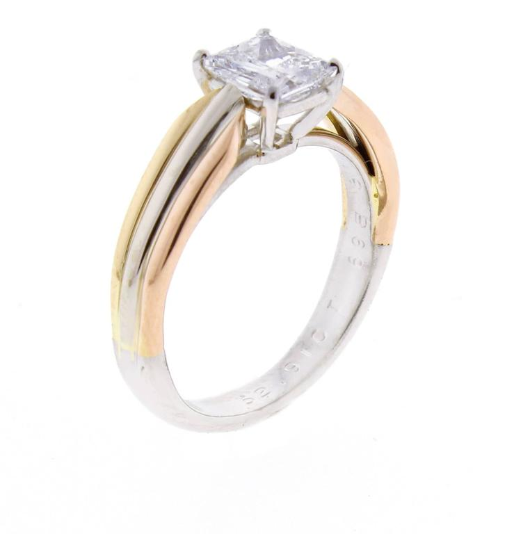 Cartier Trinity Wedding Ring: Cartier Trinity Radiant Diamond Gold Platinum Engagement
