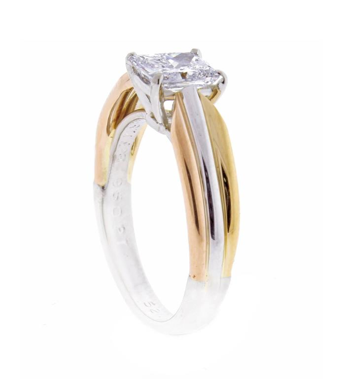Cartier Trinity Radiant Diamond Gold Platinum Engagement Ring   4