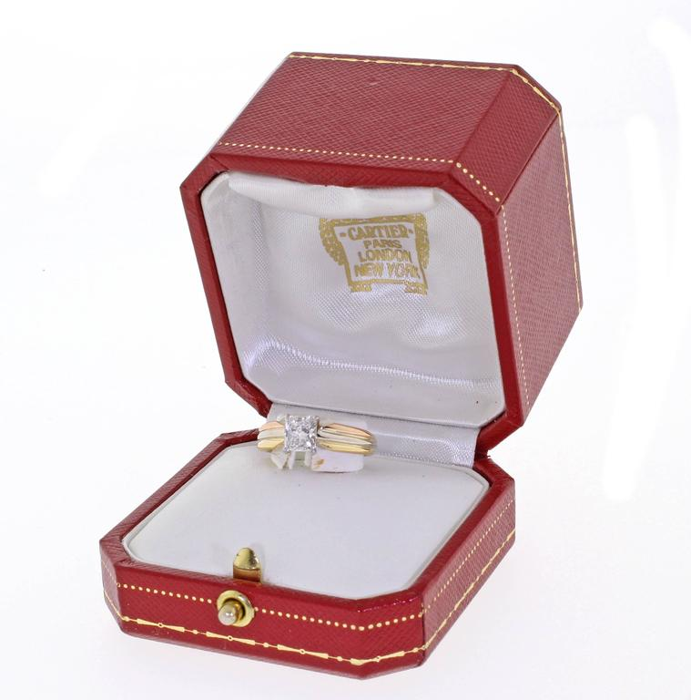 Cartier Trinity Radiant Diamond Gold Platinum Engagement Ring   5