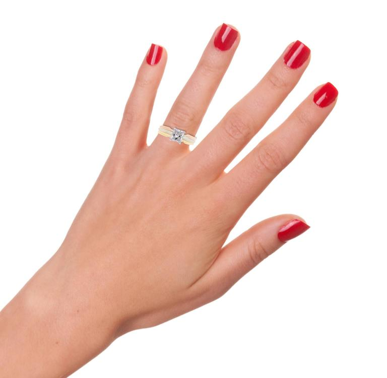 Cartier Trinity Radiant Diamond Gold Platinum Engagement Ring   6