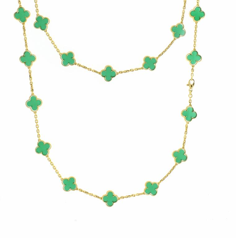 Van cleef and arpels 20 motif chrysoprase gold alhambra necklace at this rare 18 karat yellow gold alhambra necklace features 20 chrysoprase quatrefoils from van cleef aloadofball Image collections