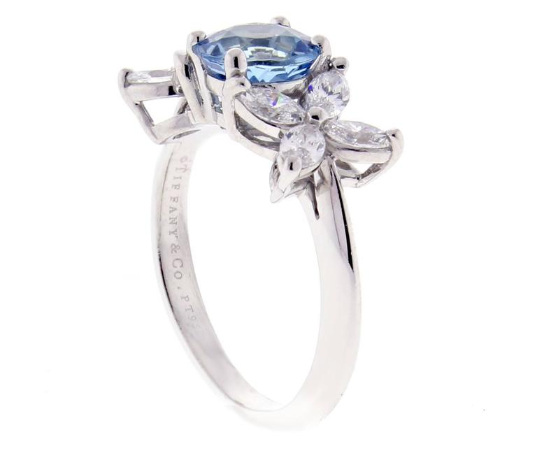 Tiffany & Co. Aquamarine Platinum Victoria Ring 3