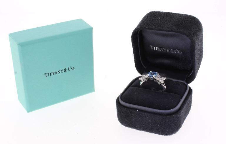Tiffany & Co. Aquamarine Platinum Victoria Ring In Excellent Condition For Sale In Washington, DC