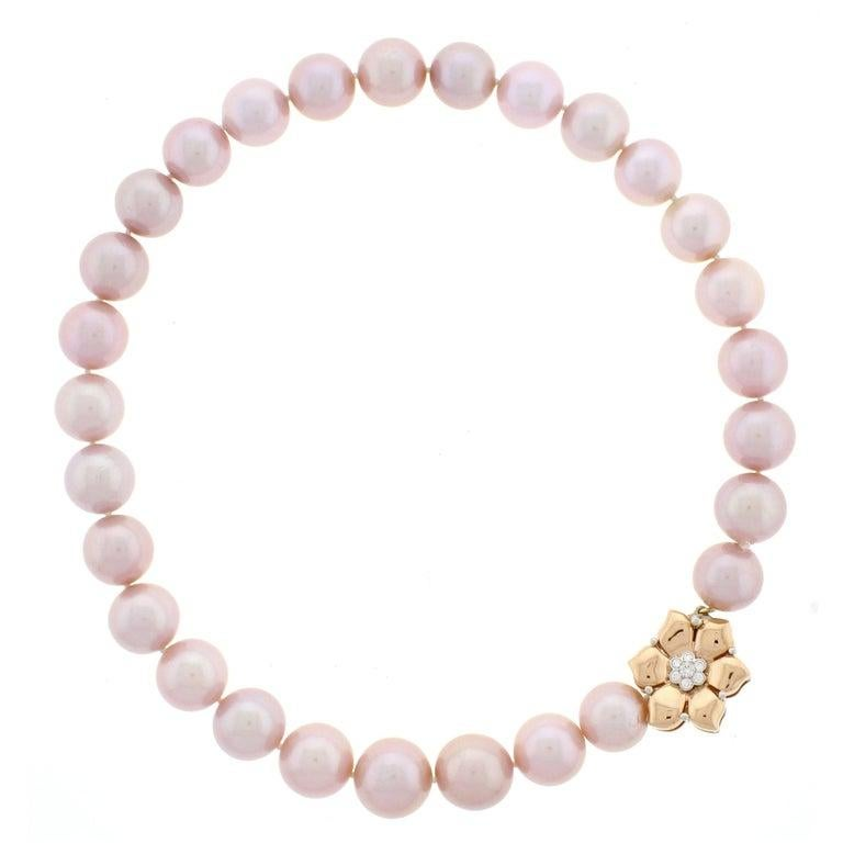 Natural Pink Pearl Necklace In New Condition For Sale In Bethesda, MD