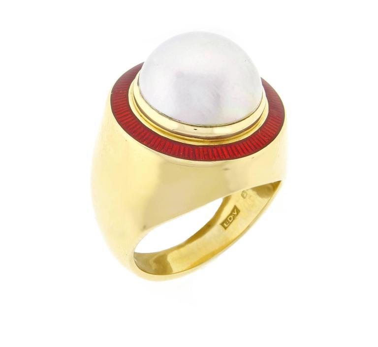 1980s Leo De Vroomen Mabé Pearl Enamel Gold Ring  4