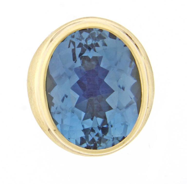 Modernist Burle-Marx  Oval Blue Topaz Ring For Sale