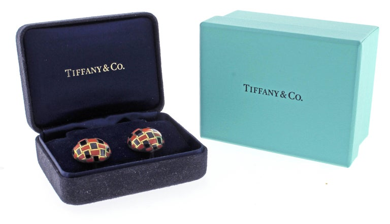 Men's Tiffany & Co. Coral and Onyx Checker Board Earrings For Sale
