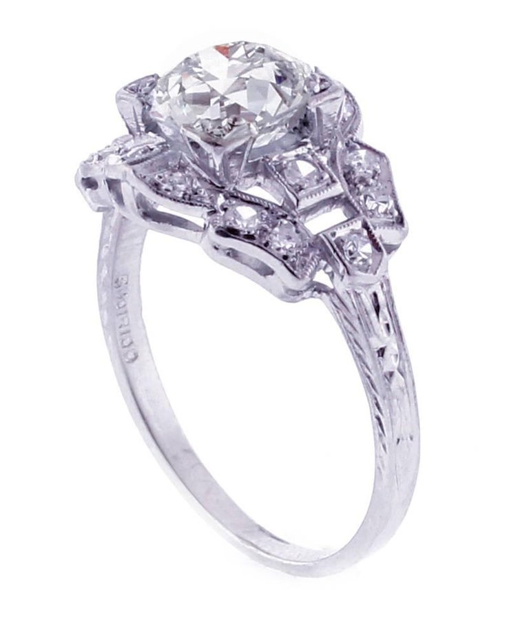 Edwardian Old European Cut Diamond Engagement Ring In Excellent Condition For Sale In Bethesda, MD