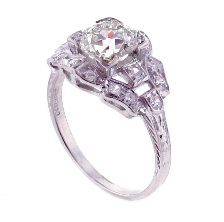 Edwardian Old European Cut Diamond Engagement Ring For Sale