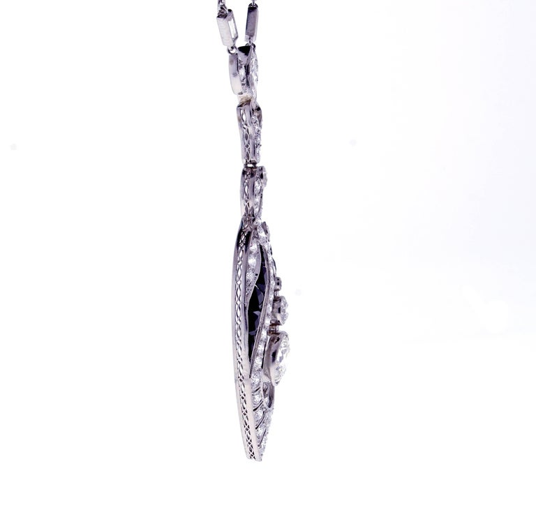 Art Deco Black Onyx and Diamond Sautoir Neckalce 5