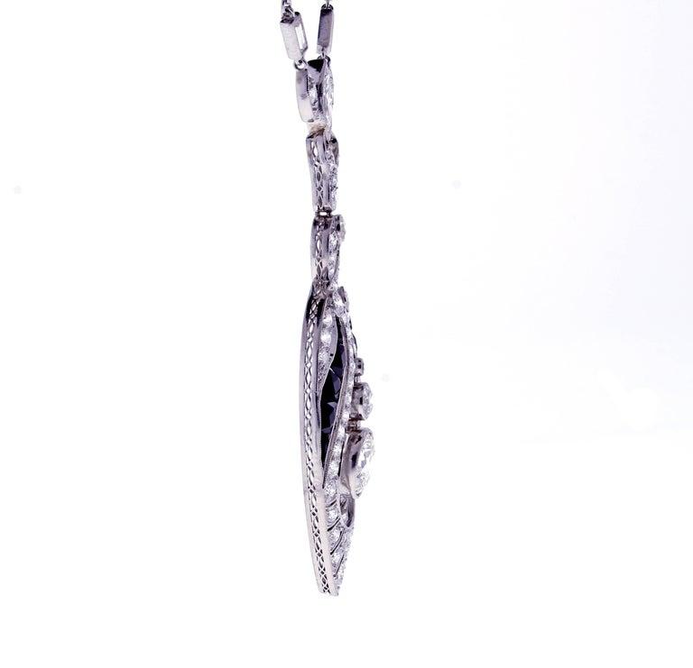 Art Deco Black Onyx and Diamond Sautoir Neckalce For Sale 1