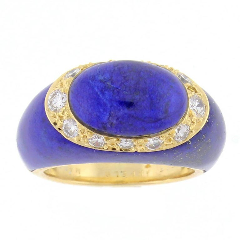Van Cleef & Arpels Lapis Diamond Gold Dome Ring