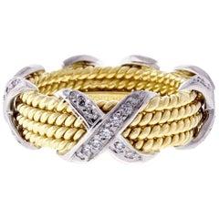 Tiffany & Co. Schlumberger Rope Four-Row Diamond X Ring
