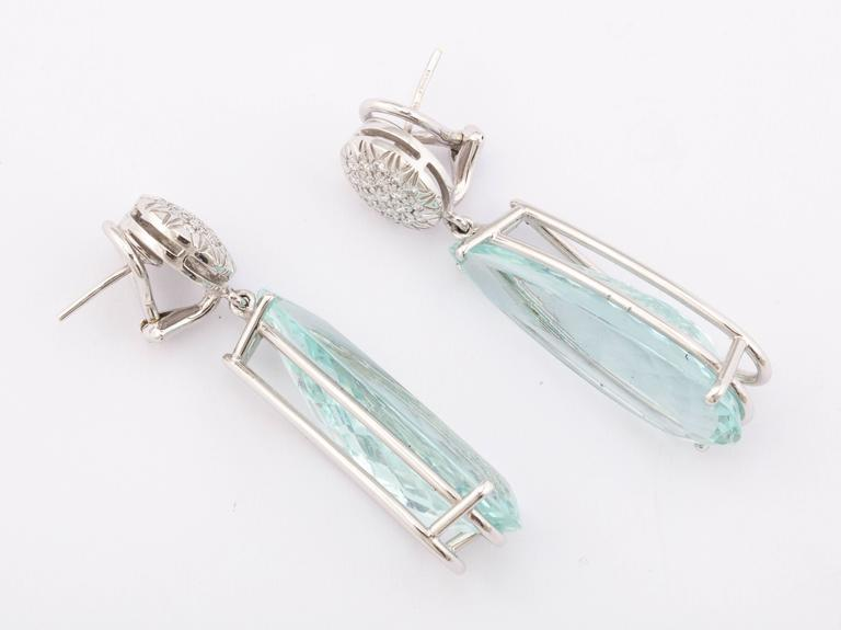 Faraone Mennella Ice Princess Aquamarine Diamonds Earrings. 3