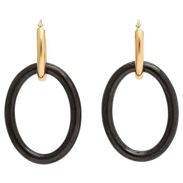 Faraone Mennella Black Ceramic Yellow Gold Mama Earrings 1