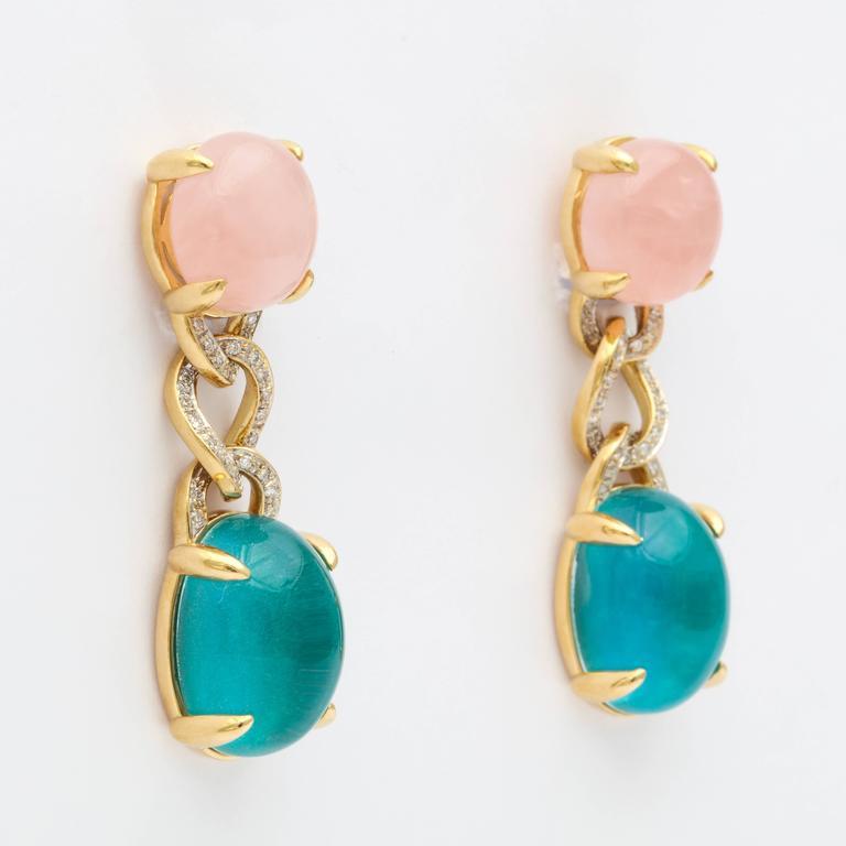 Modern Faraone Mennella Rose Quartz Blue Tourmaline Yellow Gold Earrings For Sale