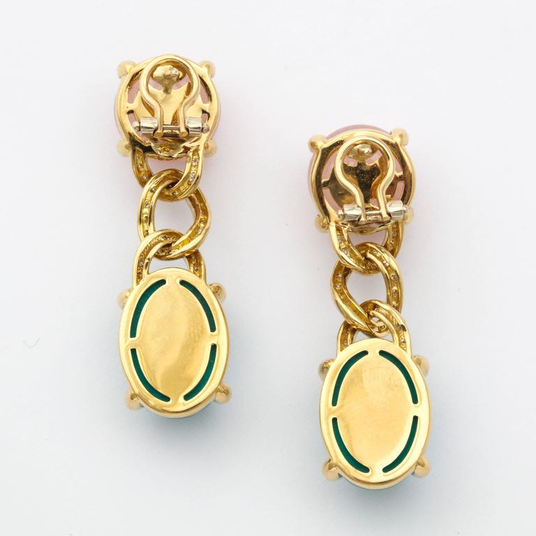 Faraone Mennella Rose Quartz Blue Tourmaline Yellow Gold Earrings In As new Condition For Sale In New York, NY