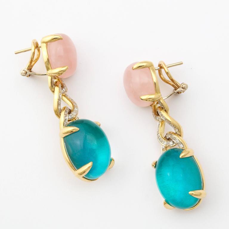 Women's Faraone Mennella Rose Quartz Blue Tourmaline Yellow Gold Earrings For Sale