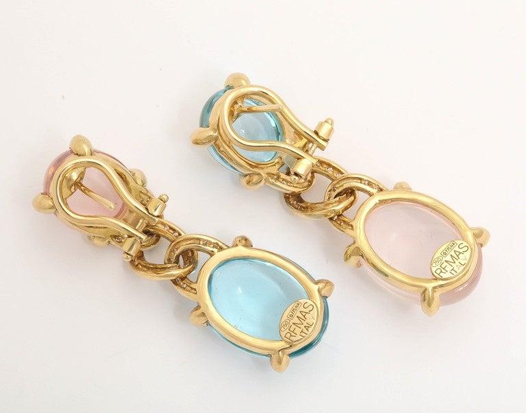 Faraone Mennella Blue Topaz Rose Quartz Diamond Gold Drop Earrings 3