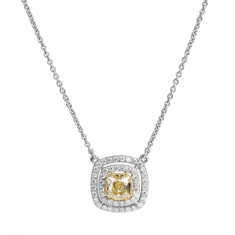Platinum and 18 Karat Gold 1.22 Carat Fancy Yellow Diamond Pendant