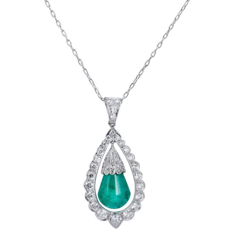 7.17 Carat Cabochon Emerald Diamonds Platinum Drop Pendant