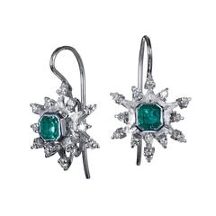 Colombian Emerald Pave Diamond Gold Earrings