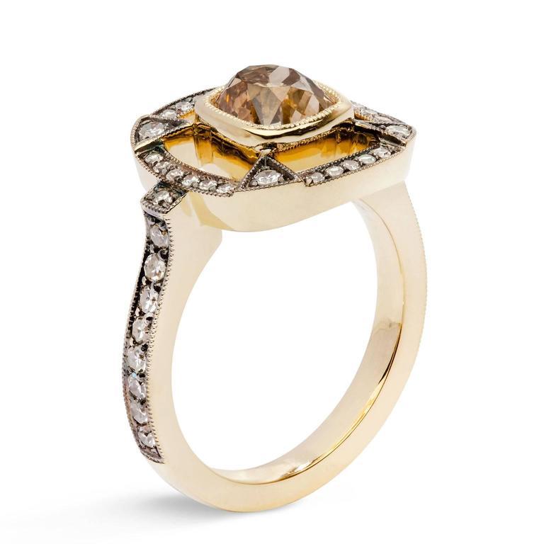 1.51 Carat Orange Brown Cushion Cut Diamond 18 Karat Gold Halo Ring In New Condition For Sale In Miami, FL