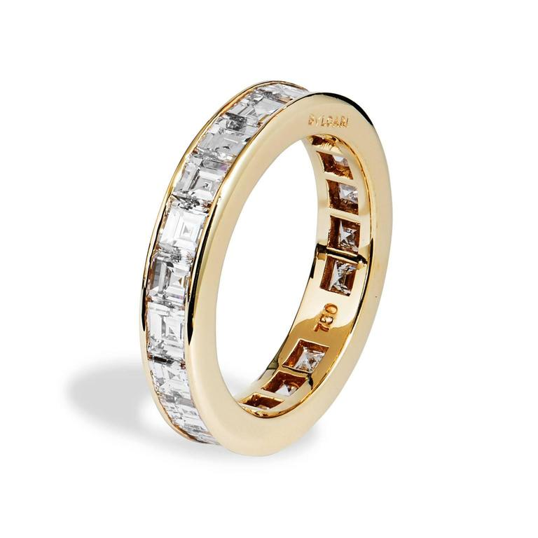 bulgari carre diamond gold all around wedding band ring. Black Bedroom Furniture Sets. Home Design Ideas