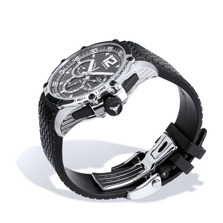 Men's Chopard Stainless Steel Chronograph Wristwatch 45 MM   The Chopard SS Superfast 45 MM Chronograph in black with black rubber deployment strap highlights the adventurous spirit and style of a sportsman. The watch features power reserve and is