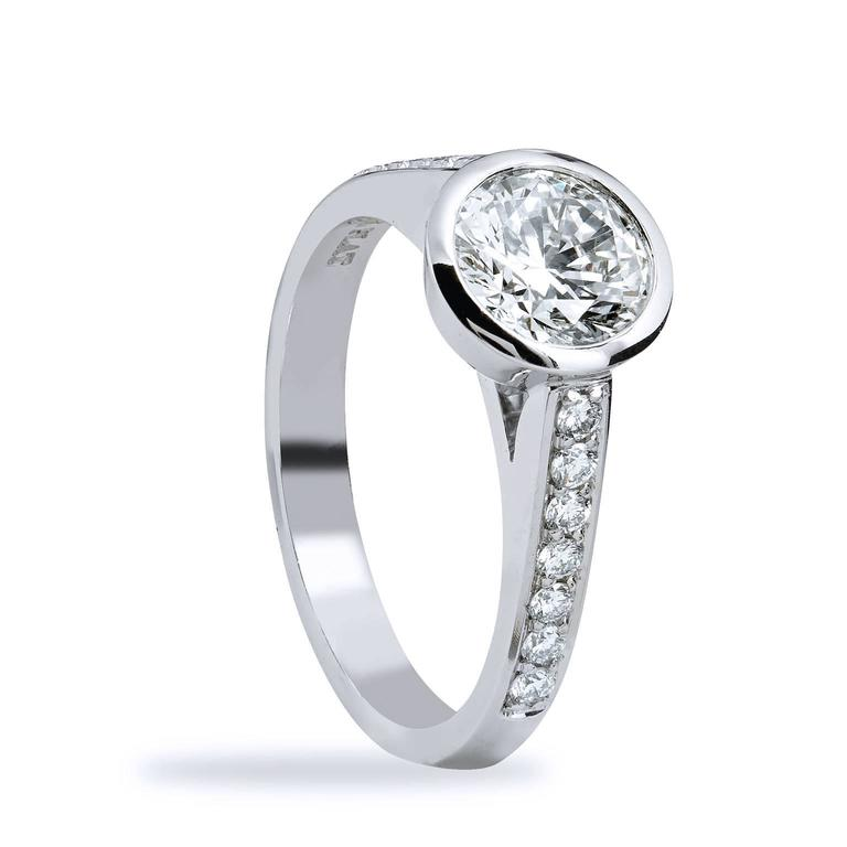 GIA Certified 1.01 Carat Diamond and Pave Bezel Set Platinum Engagement Ring In New Condition For Sale In Miami, FL