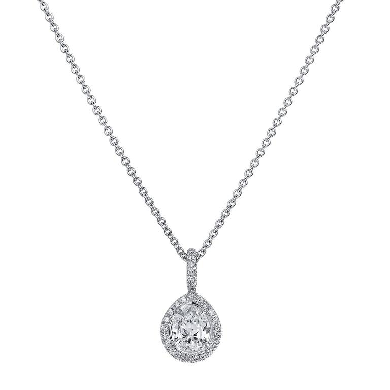 H & H 0.72 Carat Antique Pear Cut Diamond Pendant Necklace