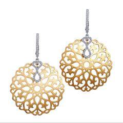 0.26 Carat Diamond Yellow Gold Ornate Drop Earrings