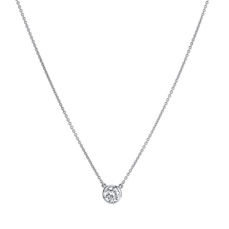 H & H Minimal 1.01 Carat Diamond Solitaire White Gold Pendant Necklace
