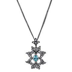 2.05 Blue Zircon and Diamond Pendant
