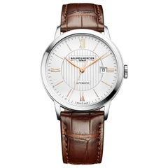 Baume & Mercier Stainless steel Classima Core Dual Time Analog Wristwatch