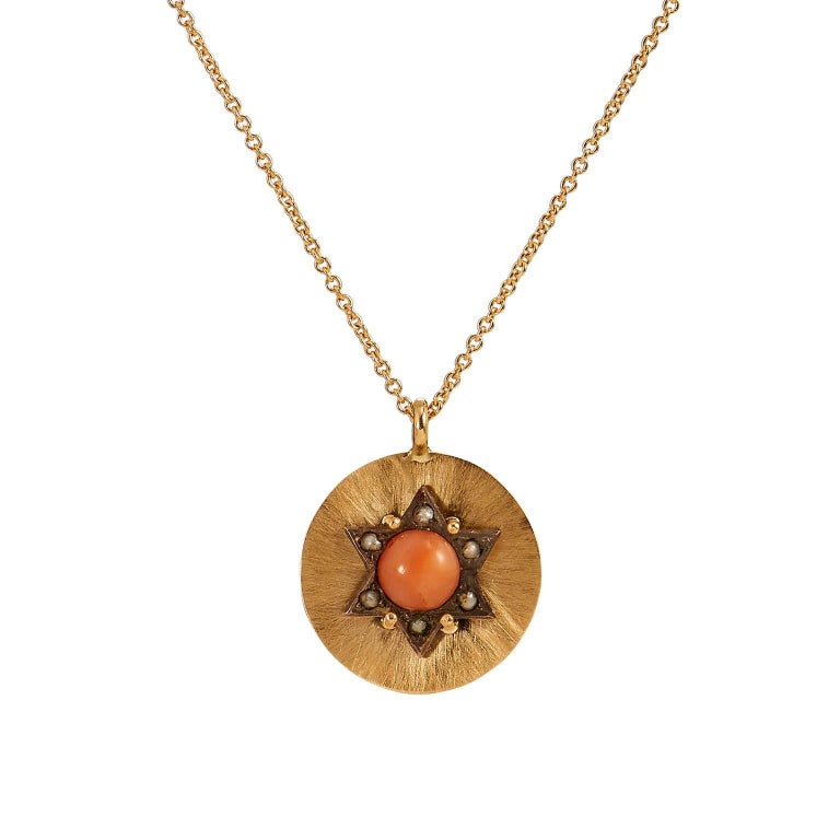 Victorian Coral and Seed Pearl Pendant Necklace For Sale