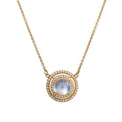 H & H 1.81 Carat Blue Moonstone and Diamond Pave Pendant Necklace