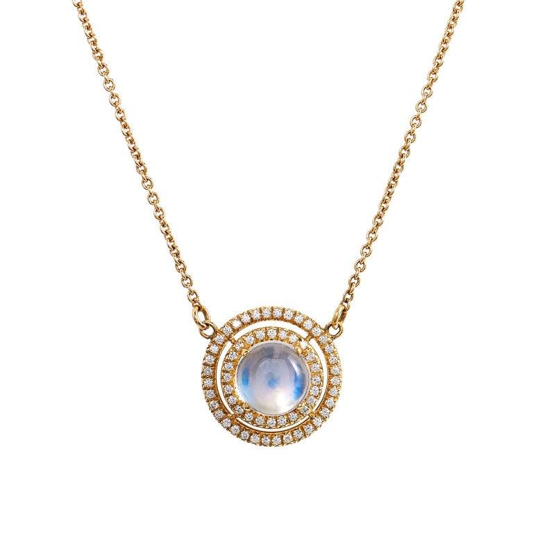 H & H 1.81 Carat Blue Moonstone and Diamond Pave Pendant Necklace