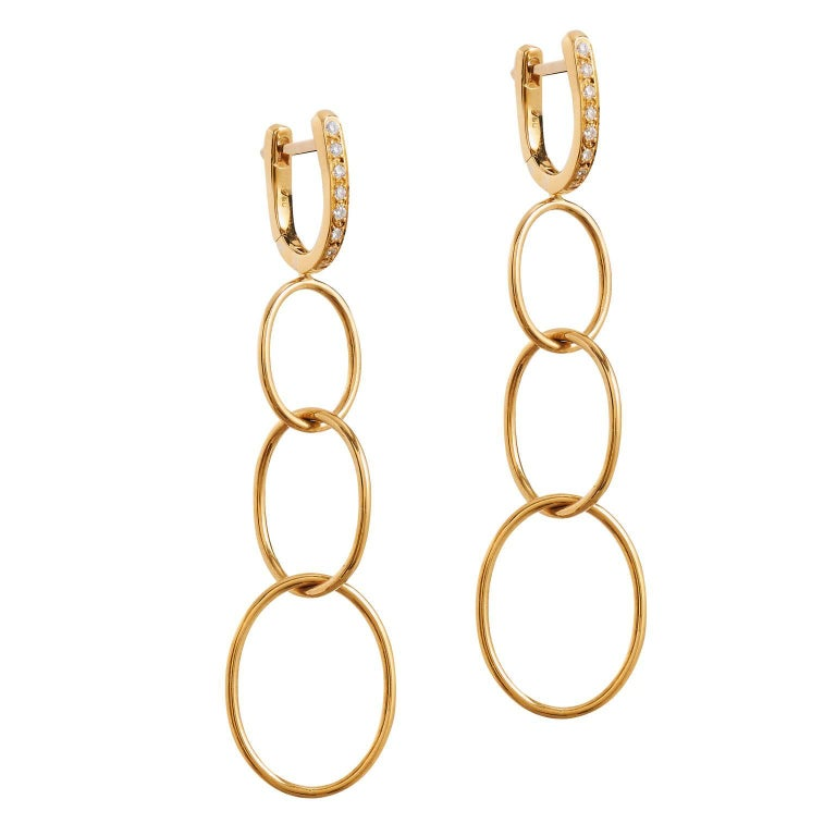 18 Karat Yellow Gold and Diamond Dangle Earrings
