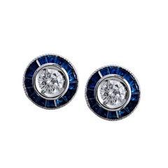 1.15 Carat Caliber Cut Sapphire and Round Diamond Stud Earrings