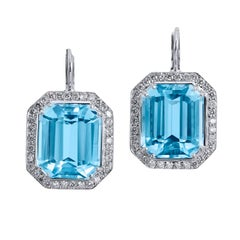 H & H 18.29 Carat Blue Topaz and Diamond Pave Lever-Back Earrings