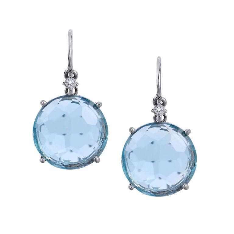 12 Millimeter Round Blue Topaz Fish Hook Earrings