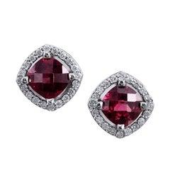 H & H 2.20 Carat Rhodolite Garnet Stud Earrings