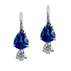 H & H 0.80 Carat Pear Shaped Blue Sapphire and Diamond Lever-Back Earrings