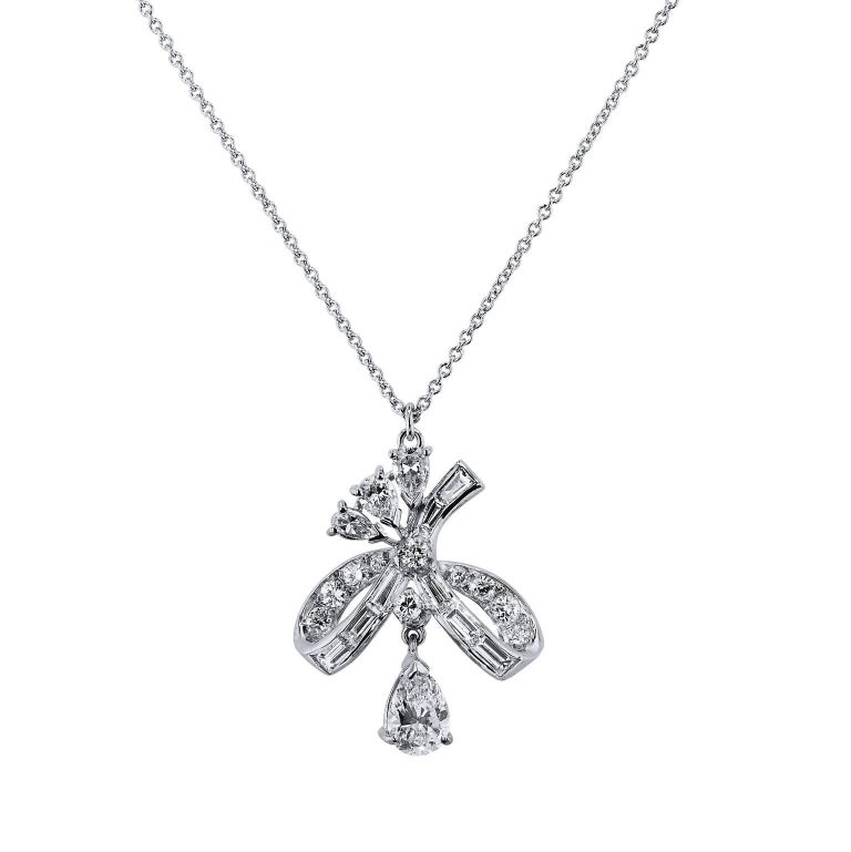 Diamond and Platinum Ornate Pendant Necklace