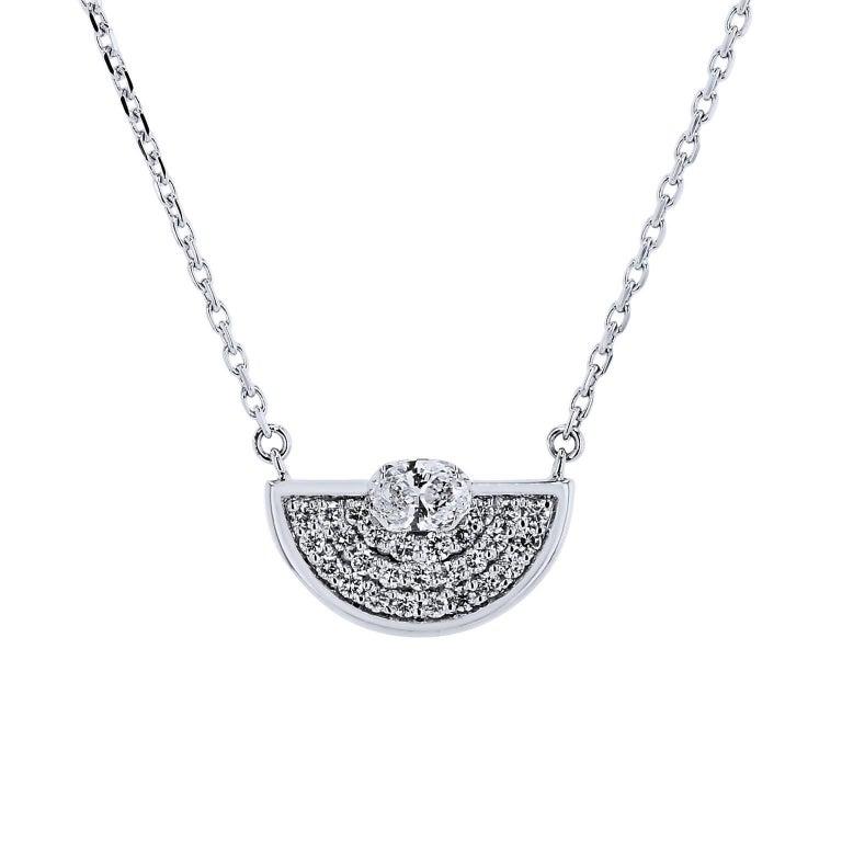 Diamond Half Circle 18 Karat White Gold Pendant Necklace
