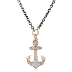 1.31 Carat Diamond Pave Anchor Pendant Necklace